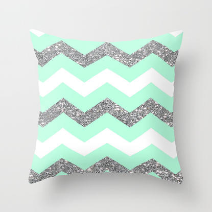Seafoam Glitter Chevron Throw Pillow By From Society6