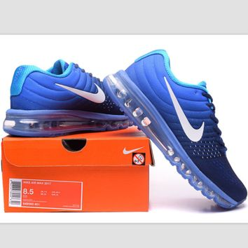 """NIKE"" Trending Fashion Casual Sports Shoes AirMax section Blue white hook"