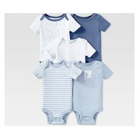 Lamaze Baby Boys' Organic Cotton 5pc Shorts sleeve Bodysuit Set - Blue