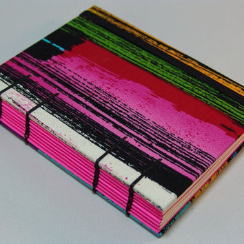 Handmade Fabric Journal Coptic Stitched Hot Pink by BBhandmades