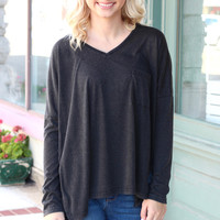 Acid Wash Slouchy Long Sleeve Pocket Top {Black}