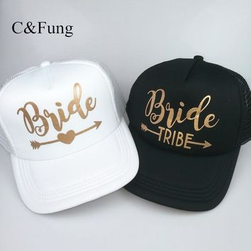 Trendy Winter Jacket C&Fung new Bride Tribe Snapback Hat Bride to be golden Arrow hats Girls wedding Beach Bachelorette party favors Trucker Hat Cap AT_92_12