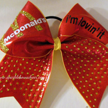 McDonalds I'm Lovin It Rhinestone Large Cheer Bow Hair Bow Cheerleading
