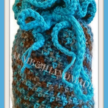 Small Crochet Bag , Boho Summer Bag , Crochet Flower Purse ,  Drawstring Purse , Crochet Handbag , Crochet Pouch  / Aqua Blue and Brown
