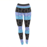 "Nina May ""Denin Diamond"" Blue Black Yoga Leggings"