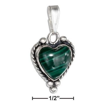 STERLING SILVER SIMULATED MALACHITE HEART PENDANT WITH ROPED BORDER