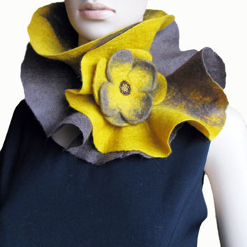 FREE SHIPPING Scarf Handmade Felted Mustard collar neck warmer  with Flower Brooch Ready to ship