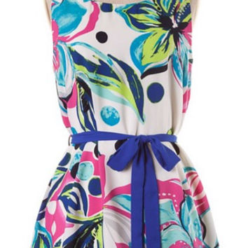 Tropical Flowers Dress - Fuschia and Aqua