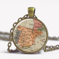Pendant with Chain - Map of Spain