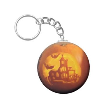 Spooky Haunted House Carved Halloween Pumpkin Keychain
