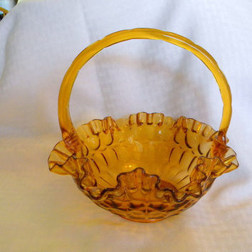 Fenton amber glass basket thumbprint ruffled edge glass bowl