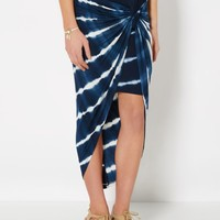 Navy Tie Dye Knotted Skirt | Midi | rue21