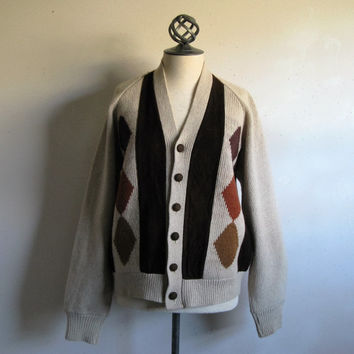 Vintage 60s Suede Mens Cardigan Russet Brown Suede Knit 1960s Mens Knit Sweater Medium