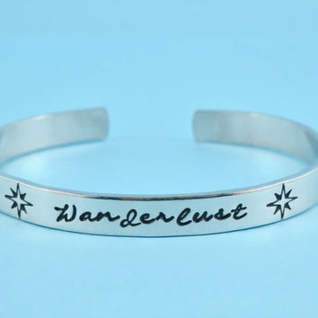 Wanderlust - Hand Stamped Cuff Bracelet,Traveller's Bracelet, Perfect Gift for Dreamers