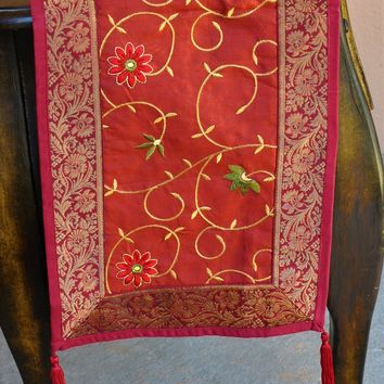 "Burgundy Luxury Silk Table Runner with Embroidery and Antique Gold Brocade Border 60"" x 12"""