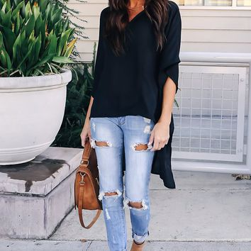 Black Chic High Low Flowy Style Blouses Top