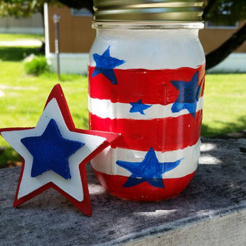4th of July Painted Jar, July 4th Outside Decor, Red White & Blue, Mason Jar Light, 4th of July, Stars and Stripes Jar