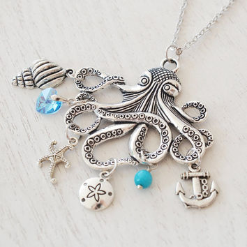 silver octopus necklace,bridesmaid necklace,nautical wedding,statement necklace,silver necklace,octopus gift,anchor necklace,pirate jewelry