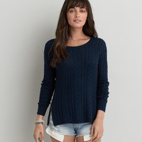 AEO CABLE KNIT ZIP SWEATER