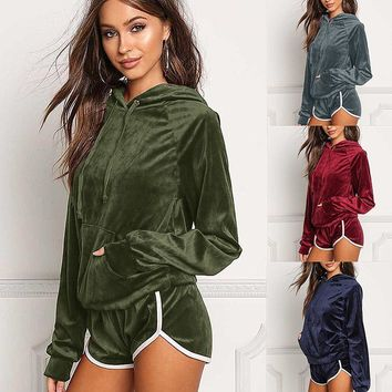 Pocket Hoodies Shorts Two Pieces Sports Set Outfits
