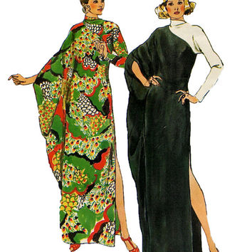 1970s Batwing Caftan Long Kimono Sleeve Cowl Neckline Side Slit & Back Zipper Size 12 14 Bust 34 36 Simplicity 5971 Vintage Sewing Patterns