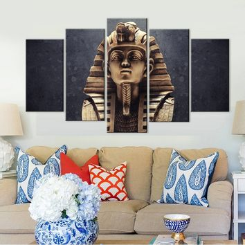 New Egyptian Pharaoh Canvas Art Painting 5 Panel No Frame Wall art Picture For Bedroom Print Poster Painting House Decor