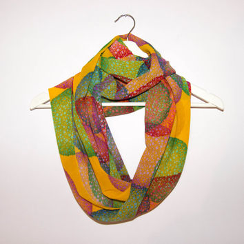 Colorful Scarf, Chiffon Scarf, Orange Mustard and Yellow, Summer Infinity Scarf, lightweight Scarf
