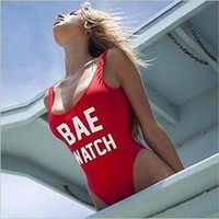 "Red ""BAE WATCH"" Letter Print Monokini"
