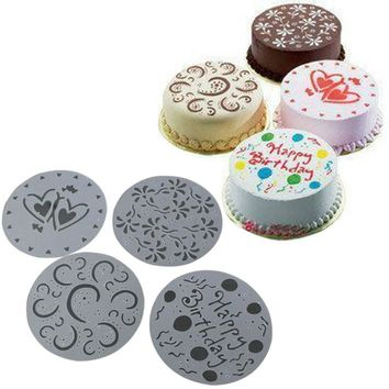 4 Pcs/Set Cake Spray Mold Happy Birthday Flowers Heart Printed Pattern Stencils Cake Decoration Mould Bakery Tools DIY E