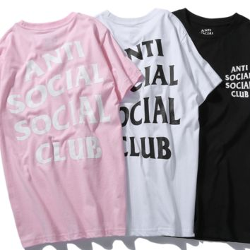 ANTI SOCIAL ASSC letter printing, couple, Casual Short Sleeved T - shirt