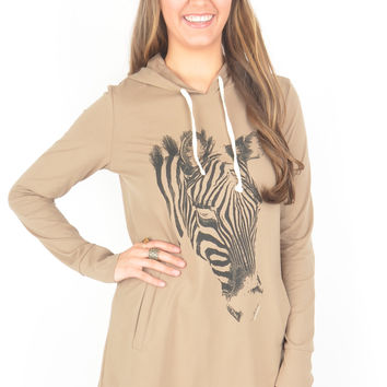 Hooded Mocha Pullover with Zebra Detail
