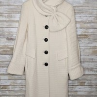 Nanette Lepore Mysterious Virgin Wool Coat - Cream with Shawl Collar - Size 4