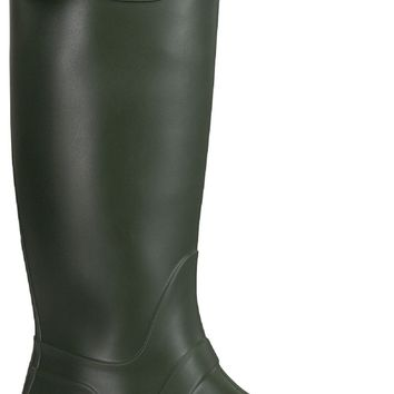 Valentina-02 Women Knee High Wellies Rubber Galoshes Rain Pull On Boot Olive