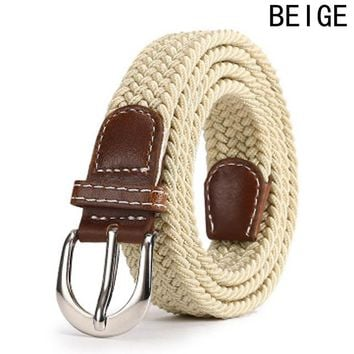 Leather Buckle Luxury Canvas Belts Fashion Women Men Belt Top Quality 2.5 Cm Wide Woven Stretch Braided Elastic