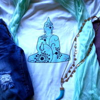 Hippie bohemian zen blue buddha tshirt for juniors girls and women