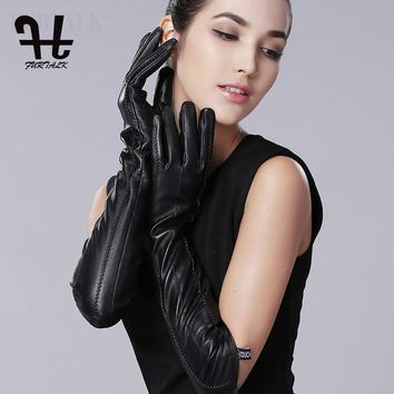 FURTALK Womens Winter Long Evening Texting Leather Gloves For Women Sleeves Fleece Lined Ruched Elbow Length