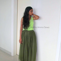 Spring Summer Olive Green Tutu Tulle Long Skirt for Women