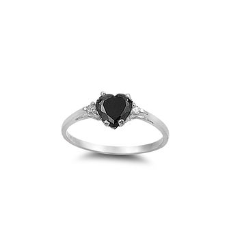 925 Sterling Silver CZ Heart Black Ring 7MM