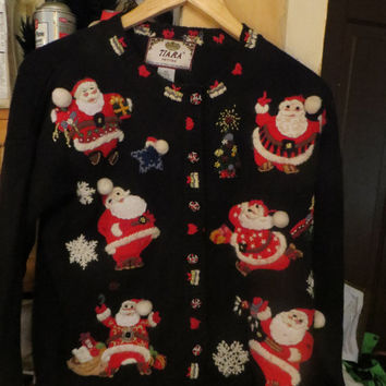 vintage 80s UGLY Christmas cardigan SANTA sweater size small by Tiara