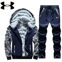"""""""Under Armour"""" PRINT HOODIE THICK KEEP WARM TOP AND PANTS TWO PIECE SUIT Blue"""
