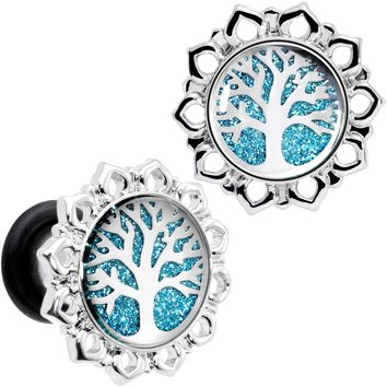 2 Gauge Blue Glitter Inlay Tree of Life Single Flare Plug Set