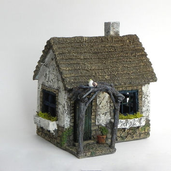 Fairy Cottage House - accessories - Miniature resin fairy garden supply - terrarium supplies - fairy house - gathering place fairy house