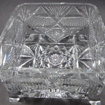 Signed Libbey American Brilliant Period hand Cut Glass square ferner