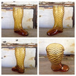 Amber Glass Boot Shaped Decanter or Vase