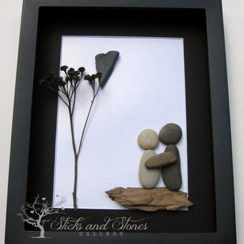 Pebble Art Couple's Gift - Unique Couple's Gift - Personalized Engagement Gift - Personalized COUPLE Gift - Wedding Gift
