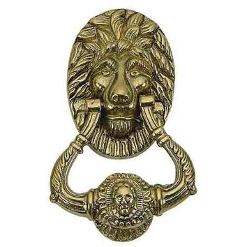 Brass Accents A07-K5000-609 Large Lion Antique Brass Door Knocker - (In Antique Brass)