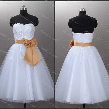 Ball gowns White tulle with appliques and sash Cocktail dress prom dress home coming dress
