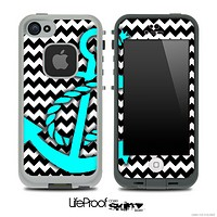 Black/White Chevron and Turquoise Anchor Skin for the iPhone 5 or 4/4s LifeProof Case