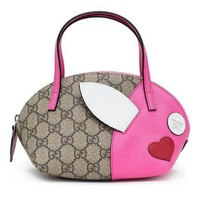 Gucci Gg Canvas Children's Rabbit Top Handle Pink Red Heart Bag New