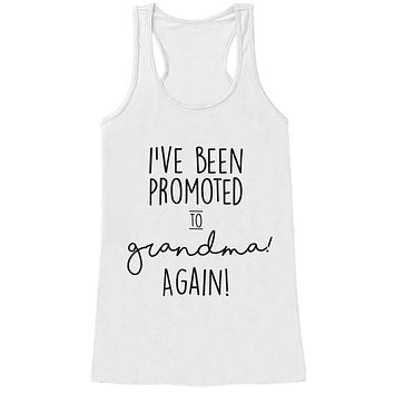 Grandparent Pregnancy Announcement Tank - Promoted to Grandma Again Pregnancy Reveal Shirt - Pregnancy Reveal Shirt - White Tank Top